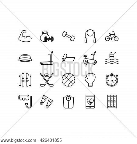 Healthy Lifestyle Flat Line Icons Set. Fitness, Sport And Gym, Diet Food, Sports Supplements. Simple
