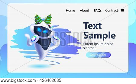 Robot Cyborg In Fir Tree Festive Hat Robotic Character Celebrating Winter Holidays Artificial Intell