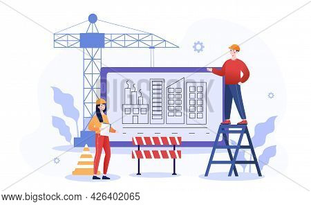 Male And Female Characters Are Working On Construction Site. Professional Team Working On Site Proje