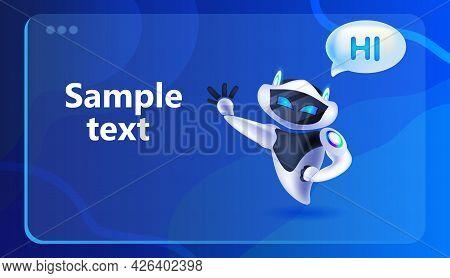 Robot Cyborg With Hi Speech Chat Bubble Communication Chatbot Customer Service Artificial Intelligen
