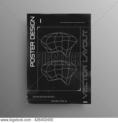 Retrofuturistic Black And White Poster Design With Ellipse Liquid Distorted Planets And Hud Elements