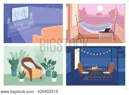 Home Recreation Flat Color Vector Illustration Set. Romantic Dinner In Backyard. Watching Tv. Empty