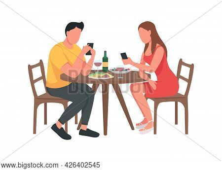 Couple On Mobile Phones Semi Flat Color Vector Character. Sitting Figure. Full Body People On White.