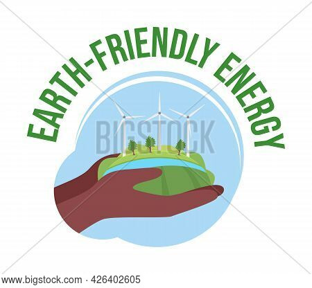 Earth-friendly Energy 2d Vector Isolated Illustration. Implementing Renewable Energy. Wind Turbines