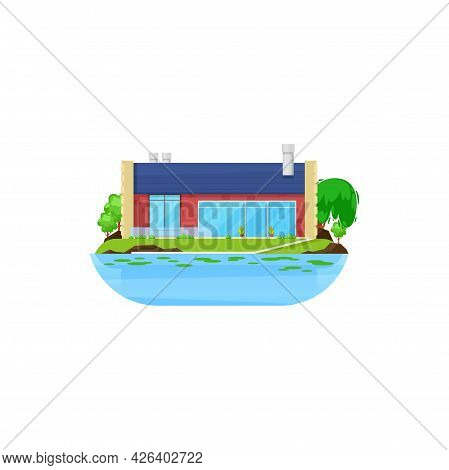 House At Lake, Cottage Or Summer Village At Water, Country Home, Vector Building Flat Icon. Resident