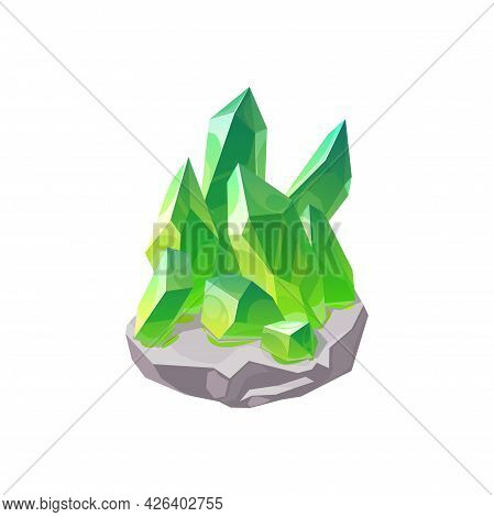 Crystal Gem Or Gemstone And Jewel Stone, Vector Isolated Icon. Mineral Gem Diamond Or Green Emerald