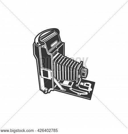 Old Folding Photocamera, Photography Shooting Equipment Isolated Monochrome Icon. Vector Retro Folda