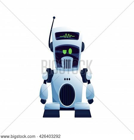 Robot With Antenna On Head Isolated Kids Toy On Remote Control Or Futuristic Machine. Vector Electro
