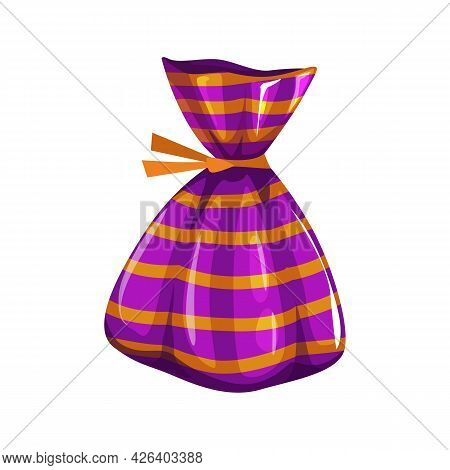 Chocolate Candy In Glossy Paper Wrapping Isolated Halloween Food Dessert. Vector Confectionery Snack