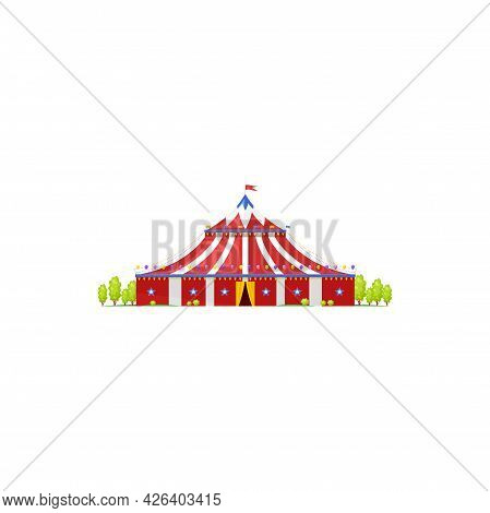 Canopy Itinerant Chapiteau, Old Shapito Cirque With Flag On Top Isolated Icon. Vector Red Marquee, A