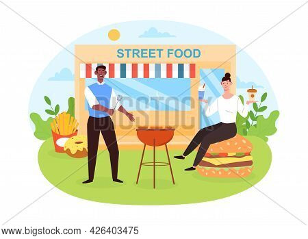 Happy Male And Female Characters Are Enjoing Street Food Together. Concept Of Cafe Service, Outdoor