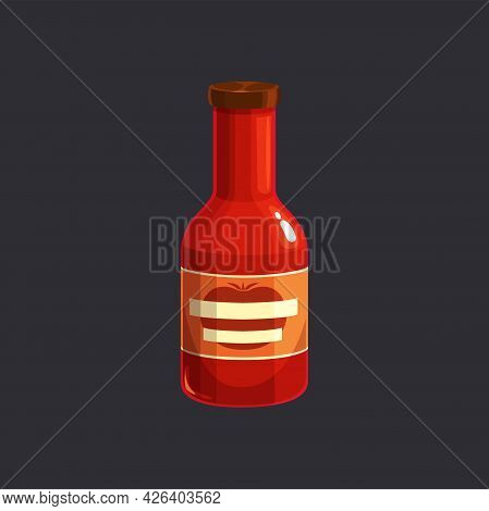 Ketchup Bottle Packaging Isolated Tomato Sauce Icon. Vector Plastic Container With Cap, Tomato Juice