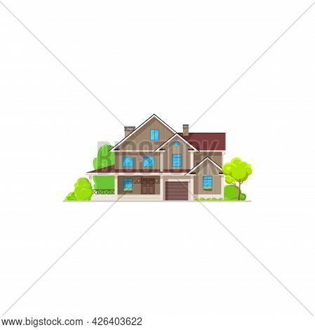 House And Home Building, Villa Mansion Or Village Residential Apartments, Vector. Modern Family Hous