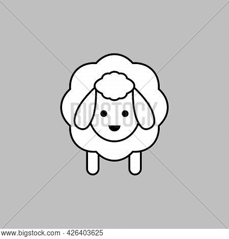 White Sheep Icon. Vector Drawing. Lamb Linear Outline Isolated Illustration.