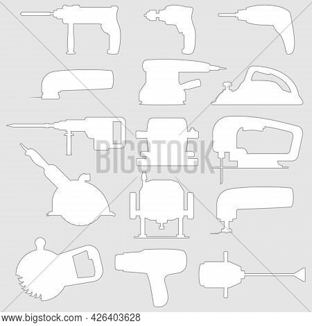 Set Of Industrial Power Tools Icons For Background With White Outline Silhouettes. Vector Illustrati