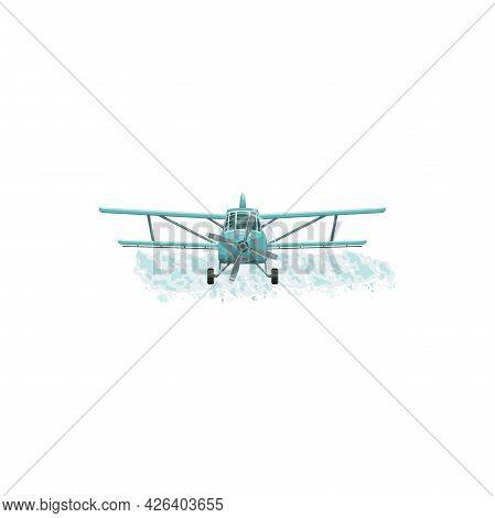 Aerial Pest Control, Pesticide Fumigation And Agrarian Disinsection Service, Vector Icon. Airplane O