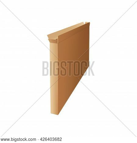 Carton Box Tv Packaging Isolated Package Mockup. Vector Narrow Packaging Cardboard To Store Thin Obj