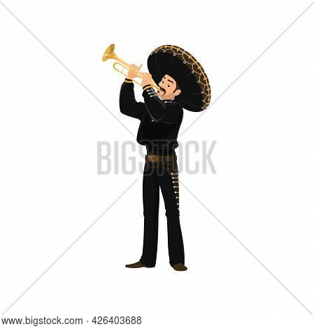 Mariachi Mexican Musician Playing On Trumpet. Vector Spanish Man In Black Costume And Sombrero Hat P