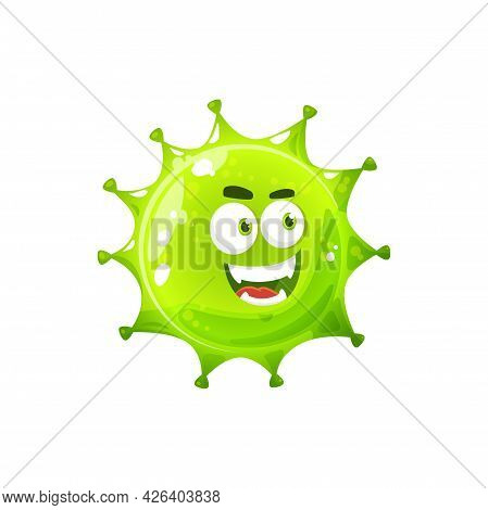 Bacteria Character, Microorganism With Big Eyes Isolated Angry Bacteria Cell. Vector Bacterial Funny