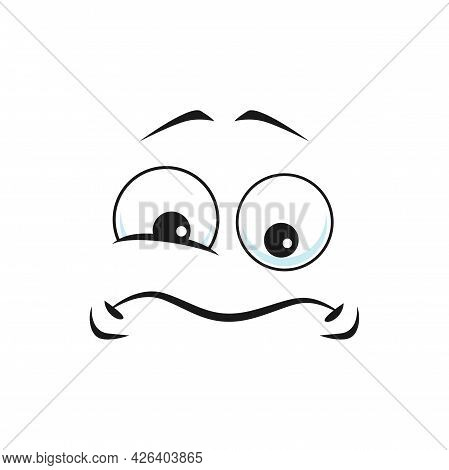 Cartoon Sad Face, Vector Unhappy Or Upset Emoji, Funny Facial Expression With Twitch Eye And Curved