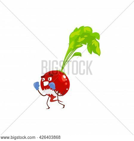 Cartoon Radish Vegetable Sportsman Plant In Boxing Gloves. Vector Funny Character Doing Fighting Wor
