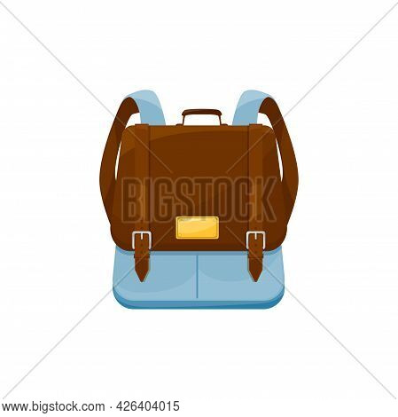 Kids Schoolbag Isolated Vector Icon, Cartoon Knapsack Or Rucksack With Belts And Webbing Of Blue And