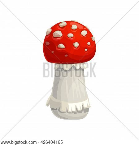 Mushroom Amanita Vector Icon, Cartoon Fly Agaric Toxic Forest Plant With Red And White Mottled Cap.