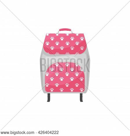 Kids Backpack Isolated Vector Icon, Cute Schoolbag With Dog Or Cat Paw Prints. Cartoon Rucksack, Pin
