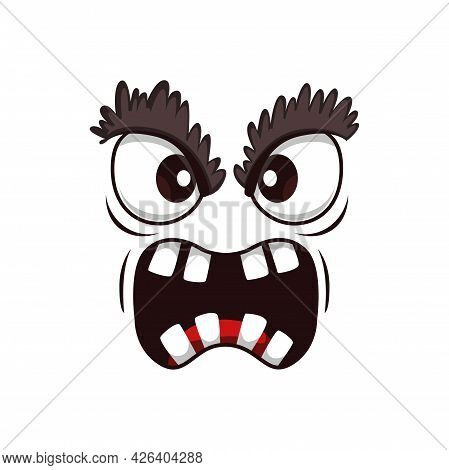 Monster Face Cartoon Vector Icon, Yelling Creepy Creature, Emotion With Hairy Eyelids, Angry Eyes An