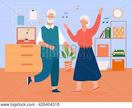 Elderly Couple Is Dancing To The Music At Home. Concept Of Elderly Grey People Active Lifestyle. Old