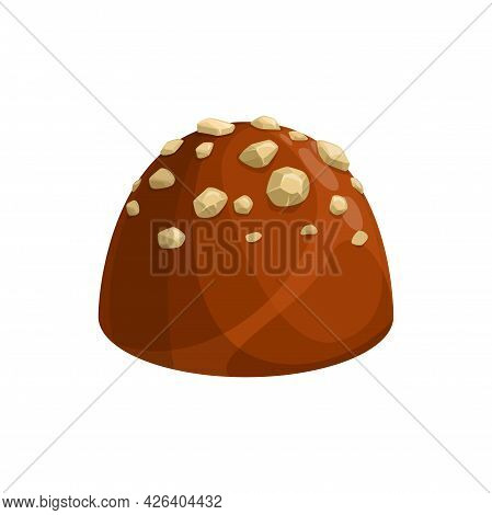 Praline Candy With Pieces Of Nut Isolated Sweet Food Dessert. Vector Premium Chocolate Sweets, One C