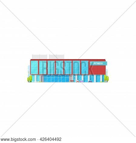 Gymnastic Activities Gym Isolated Fitness Center Realistic Building. Vector Front View Of Beauty Cen