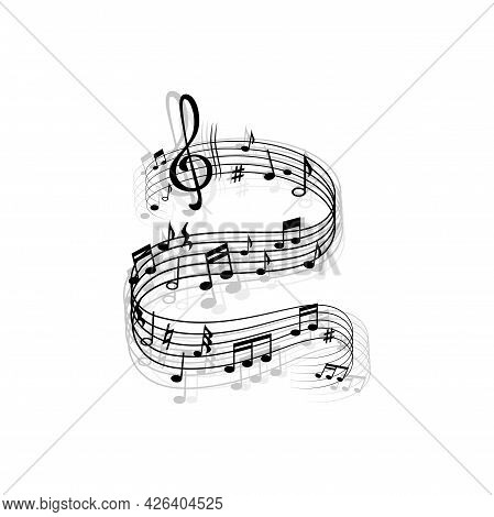Music Wave, Vector Musical Notes, Treble Clef, Flat And Sharp Signs On Curvy Stave. Melody Swirl For