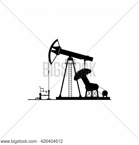 Oil Derrick Vector Icon, Black Silhouette Of Rigs Pumping Gas Or Fuel Isolated On White Background.