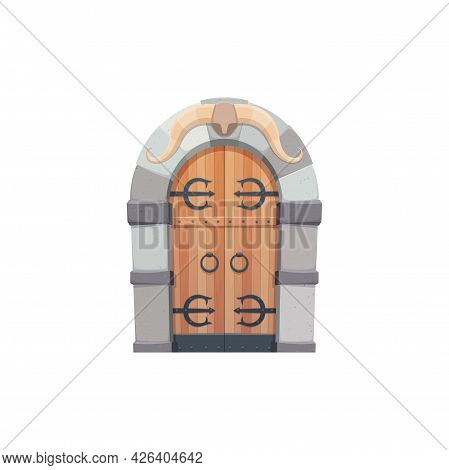 Medieval Cartoon Gate Or Door In Shape Of Arch With Forged Elements Isolated Fairytale Entry. Vector