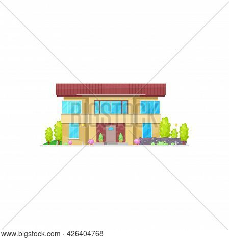 Cottage House Facade Exterior Isolated Cartoon Building. Vector Real Estate Cottage, Country House W