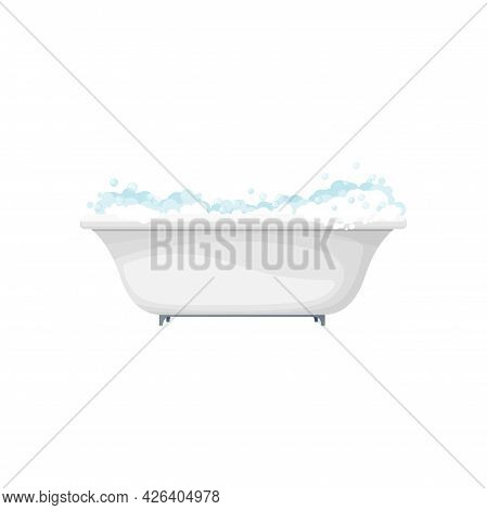 Bathtub Bathroom Interior Object, Home Toilet Furniture Isolated Realistic Icon. Vector Washing Wate