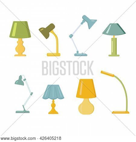 Furniture Chandelier, Table Lamp In Flat Cartoon Style. A Set Of Lamps On A White Background. Chande