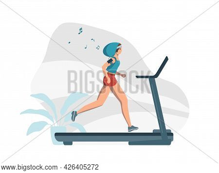 A Young Woman Trains On A Treadmill And Listens To Music. The Girl Takes Care Of Beauty And Health.