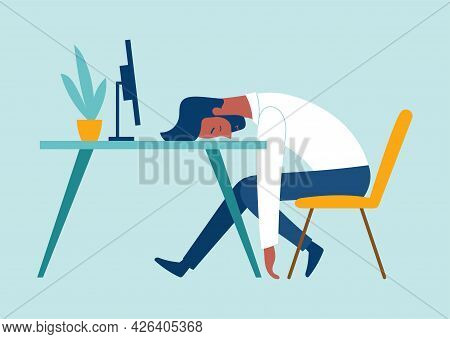 Exhausted Male Character Is Having Burnout Syndrome At Work. Sick Tired Male Manager In Office Sad B