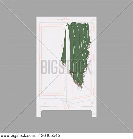 Bedroom Furniture - Storage Or Shelf In Flat Cartoon Style. Cute Wardrobe In Scandinavian Style. Vec