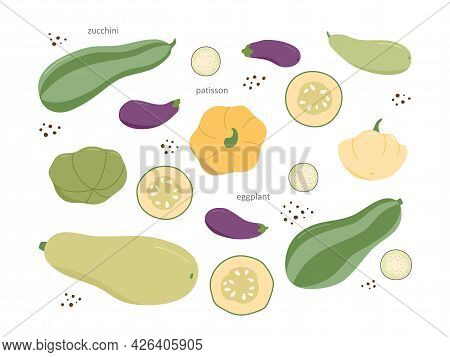 A Set Of Fresh Farm Vegetables. The Set Includes Zucchini, Patissons And Eggplants. The Vegetables A