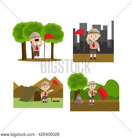Boy Scout Character In Uniform Standing Design Illustration Set