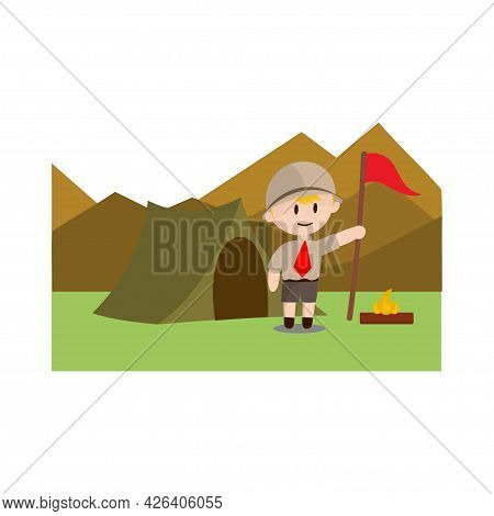 Boy Scout Character In Uniform Standing Camp On Mountain Design Illustration