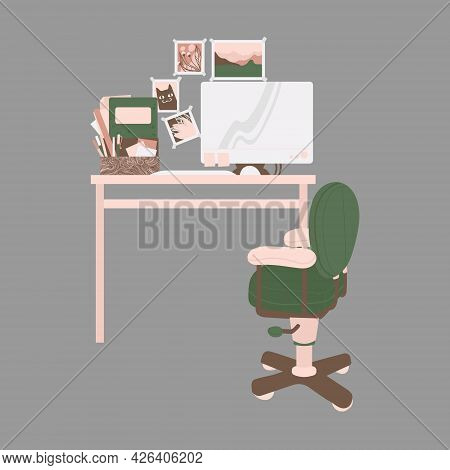 Home Workplace - Desk With Monitor And Stationery, Armchair And Home Decor Elements. Furniture For W