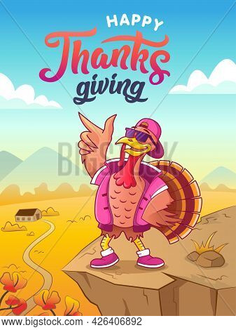 Happy Thanksgiving. Greeting Card. Cool Cartoon Turkey In Sunglasses And Cap Dancing Against The Aut