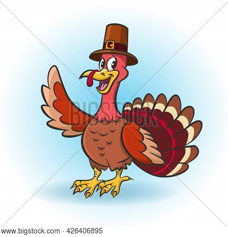 Thanksgiving Cartoon Turkey With Pilgrim Hat Smiles And Waves His Wing. Vector Illustration For Than