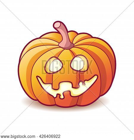 Scary Pumpkin Jack Lantern With Creepy Toothy Smile And Fiery Glow Inside. Traditional Decoration Fo