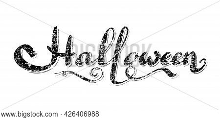 Happy Halloween Grunge Lettering Wavy Tail, Isolated White Background. Holiday Black Lettering Banne