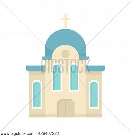 Christian Church Icon. Flat Illustration Of Christian Church Vector Icon Isolated On White Backgroun